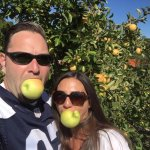 Enjoying apples at the apple orchard