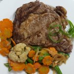 Black Angus with steamed vegetables