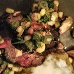 Seared hanger steak, eggplant puree