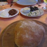 Complimentary bread, cheese, olives and dips! The best we had in Dalyan!