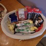 Nice basket with tea, coffee and biscuits