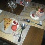 Fraisier et tarte frangipane poire et sa boule de glace