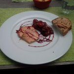 Foie gras with raspberry compote and bread