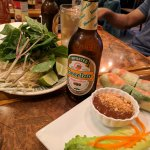 Pho fixins and Beer Lao