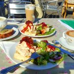Chicken and salad, Seafood Chowder - sitting in the Sunshine :-)