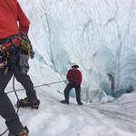 Ice climbing - down into the hole.