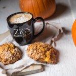pumpkin cinnamon chip scones and pumpkin spice latte