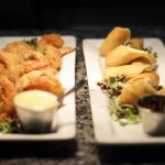 Crab Spring Rolls with Saba Reduction & Coconut Shrimp with Mango Cocktail Sauce