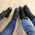 The cool glacier boots fit right over our shoes.