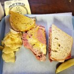 Bill Lewis of Fort Lauderdale enjoying the Pastrami sandwich at Metro Deli of Tallahassee, Flori