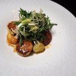 Butter Seared Georges Bank Sea Scallops (Creamy Coconut Black Rice – Lobster Essence)