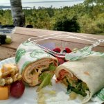 Healthy lunch of Hummus Wrap, Buffalo Chicken Wrap, Nut/fruit/cheese, & Berries -- up at Fort Ho