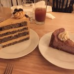 chocolate coffee layer cake & lavender cheesecake
