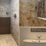 Cutting edge design elements. Marble showers, free standing tubs, WC hand papered with old books