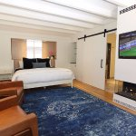 Enjoy movie with automatic fireplace, over sized Smart HDTV, DishTV, Netflix and leather recline