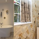 Free standing tub over heated marble floor and bathroom walls hand papered with old books.