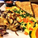 Greek omelette with hash browns