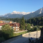 View of the mountains from our room at the Hotel Edelhof