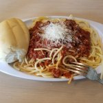 Spaghetti with meat sauce and pumpkin bread unbelievably delicious