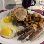Two Eggs, Potatoes & Sausage with Muffin