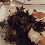 Red Leaf Salad w/ pistachios and shaved Camembert from the farm