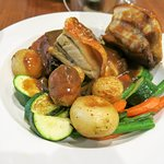 Crispy skin pork belly with steamed veggies