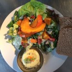 Sheep cheese with farm salad and homemade bread