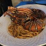 Sensational meal - lobster pasta and mushroom risotto