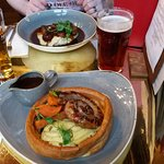 Cumberland Sausage & Mash in a Yorkshire Pudding and Pork, Tomato & Parmesan Sausages.