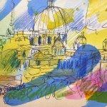 Skizze vom Gianicolo auf St. Peter
