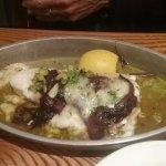Pasta carbonara,  garlic note, haddock