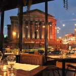 St George's Hall at night. Picture taken from the first floor of the Courtyard Bar & Kitchen.