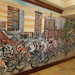 cool mural in the lobby area near the business center