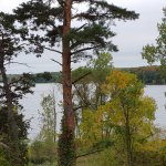 Lake Sagatagan, autumn colors, and start of lakeshore trail to Stella Maris Chapel.