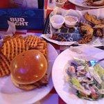 Brisket sandwich, waffle fries, dinner salad, portobello mushroom fries!!!