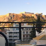 View of Acropolis from roof top at breakfast time
