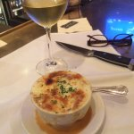 French Onion Soup & Excellent Hartford Chardonny (at the bar)