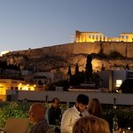 Evening view of Parthenon from hotel roof top bar/restaurant