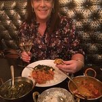 She Loves her India Meal! Berlinger Chardonny with Garlic Naan, Tikka Masala and Palak Paneer!