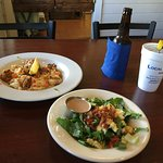 Shrimp and Grits, Tossed Salad with Balsamico Dressing. O'Doul's