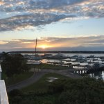 Sunrise view of Greenport Harbor from our 3rd floor balcony