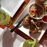 Mojitos and chicken with ricr and thai salad
