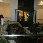 glass elevators/koi pond in hotel lobby