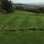 Signature long downhill par with views over Cotswolds