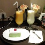 Dessert time and freah fruit juice( room service).