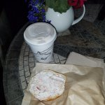 bagel with salmon dill cream cheese, and Alaska chai tea latte to go.  The cream cheese was AMAZ