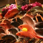 Fresh seafood display, red snappers, Mediterranean bass, Pompano, black seabass, Dover sole.
