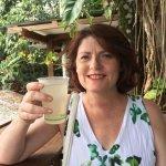 Cindy Wider drinking Home made lemonade at Falafellicious Kuranda Markets.