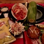 lobster, corn on the cob, crab fish cakes... totally delicious