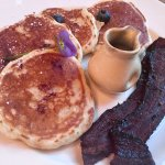 delicious blueberry pancakes with peppered bacon... yum!